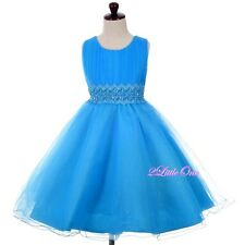 Beaded Pleat Bodice Party Pageant Wedding Flower Girl Dress Size 2T-10 FG358