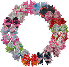 "Wholesale 4INCH Boutique Girls Cute Hairclips barrettes Ribbon bows 4"" lOT MIX"