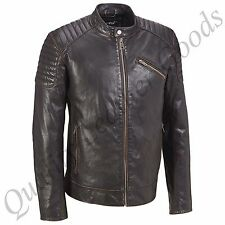 MEN GENUINE LEATHER JACKET BIKER BLUF ROCK PUNK FRONT ZIP PADDED SHOULDER HARLEY
