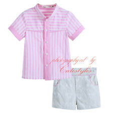 Infant Boys Stripe T-shirt & Flower Shorts Set Baby Summer Cotton Clothes Outfit