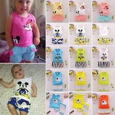 Baby Kids 2pcs Cartoon Outfit Set Summer Casual Vest Shirt & Pants Clothes 1-6Y
