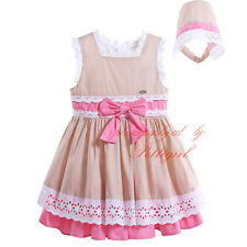Baby Girls Flower Dress + Hat Set Princess Party Pageant Layered Fancy Dresses