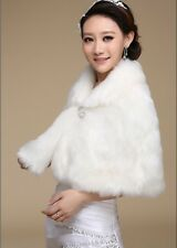 Classic White/Ivory Faux Fur Shrug Shawl Wrap Bridal Winter Wedding Stole Coat