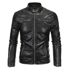 Oversized Mens Black Slim Fit Stand Collar PU Leather Jacket Overcoat Outwear