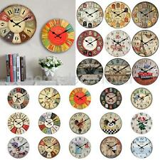 Wall Clock Wooden Rustic Retro Shabby Chic Home Kitchen Decor Art Gifts 24 Types