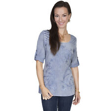 Scully Womens Embroidered Light Blue Blouse