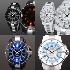 OHSEN Mens 7 Modes Lights Black White 12 Hours Water Proof Sport Wrist Watch New