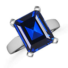 Lab Created Emerald Cut Blue Sapphire Solitaire Ring 14k White Gold Size 7