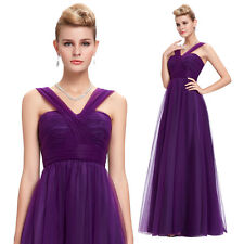 Long Tulle Bridesmaid Homecoming Gown Evening Cocktail Party Formal Prom Dresses
