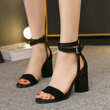 Sexy Suede Casual Block High Heels Roman Sandals Ankle Strap Buckle Womens Shoes