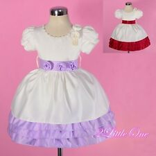 Pearl Satin Dress Wedding Flower Girl Party Cream Burgundy Size 12months-4T #259