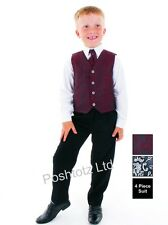 Boys 4 pc Paisley Wine & Black Formal Suit Wedding Pageboy (12-18mths- 8-9yrs)