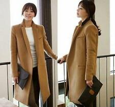 Ladies Fashion Collar Slim Long Wool Blend Double-breasted Casual Coat Jacket #
