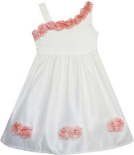 Girls Dress Asymmetric One Shoulder Flower Girl Party Size 2-6 US Seller Pageant