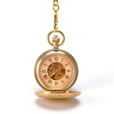 Royal Gold Horse Pendant Carved Mechanical Hand Winding Pocket Watch With Chain