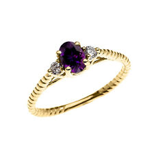 10k Yellow Gold Dainty Solitaire Amethyst & White Topaz Promise Rope Design Ring