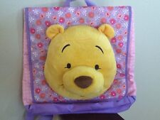 Disney Store Book bag Backpack Winnie The Pooh Plush Purple Pink Floral Girls