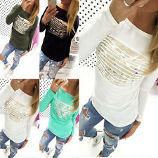 Fashion Women's Sequins Long Sleeve Cotton Loose T-Shirt Casual Tops Blouse