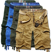 Hot Stylish Men Spring Cotton Plated Cargo Shorts Pocket Casual Straight Pants