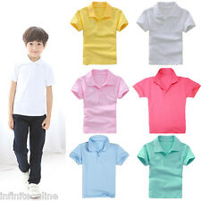 Kid Teen Boy Girl Solid Short Sleeve T-Shirt School Uniforms Polo Shirt Tops