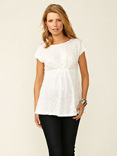 NWT JAPANESE WEEKEND Maternity White Sequin Top Empire Waist XSMALL XLARGE