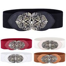 Vintage Lady Women Waistband Metal Elastic Stretch Buckle Wide Lady Waist Belt