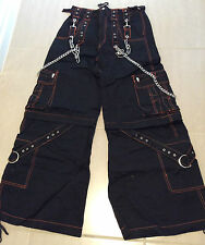 TRIPP NYC Black PANTS Bolts & Skulls SHORTS Rave Punk Goth NEW* UNISEX Sz XS, SM