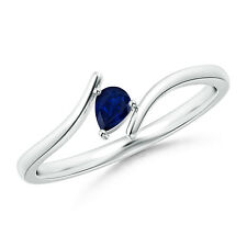 Pear Shape Natural Blue Sapphire Solitaire Ring in 14k White Gold Women's Size 6