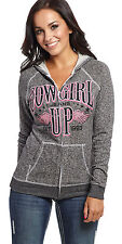 Cowgirl Up Womens Gray Cotton Hoodie Wings Terry Zip Up