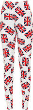 Plus Womens Stretch Union Jack Flag Uk Print Leggings Ladies Pants Trouser