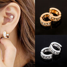 Unisex Punk Mens Women Crystal Stainless Steel Ear Hoop Stud Earrings Huggies