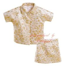 Kids Girls Retro Gold Flower Top + Floral Skirts Set Princess Clothing Outfits