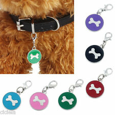Trendy Multicolor Pet Dog Cat Puppy Bone Paw Tag Round Collar Pendant Decor Hook