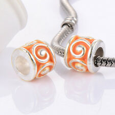 5Pcs Large S European Beads For Chain Bracelets Silver Plated Enamel Charms