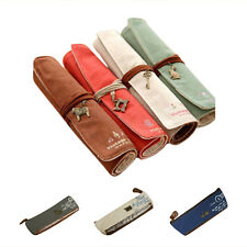Retro Canvas Paris Pencil Pen Case Bag Makeup Coin Purse Pouch Bag  SI