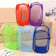 Folding Pop Up Laundry Basket Hamper Washing Clothes Bag Mesh Storage 6 Colors