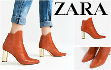 ZARA LAMINATED LEATHER ANKLE BOOTS WITH GOLD BLOCK HIGH HEEL 6144/101