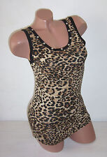 LEO Leopard Tiger Top Shirt Tank Top Studs Roses Net Tulle Lace S M L XL NEW