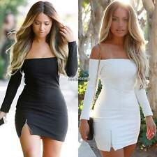 Womens Sexy Long Sleeve Off Shoulder Evening Cocktail Pencil Bodycon Dress BF9