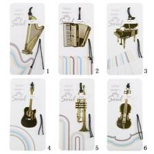 Artistic Musical Instrument Bookmarks with Tassel Gold-Plated Metal Book Marks