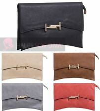 NEW LADIES CURVED SHAPE GOLDEN FRONT DETAIL ZIP SNAP FAUX LEATHER CLUTCH BAG