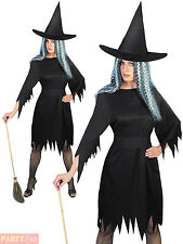 Adult Ladies Spooky Witch Halloween Fancy Dress Costume Womans Outfit UK 8 - 18
