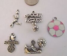 Soccer princess 1st place ribbon jersey pink ball shoe player charm sets  rugby