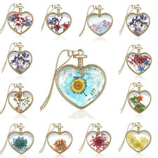 Heart Gold Natural Real Dried Pressed Flower Pendant Sweater Necklace Jewellery