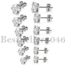 Stainless Steel Round 3mm-8mm Cubic Zirconia Mens Womens Stud Earrings 6 Pairs
