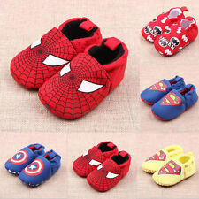HOT Baby Toddler Boy Girl Soft Sole Marvel Heroes Crib Shoes PreWalker 0-1y