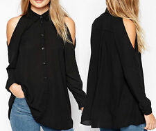 Sexy Ladies Chiffon Off Shoulder Long Sleeve Collar Cut Out T Shirt Top Blouse