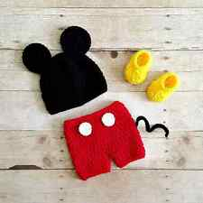 Newborn Crochet Baby Mickey Mouse Hat Diaper Shorts Shoes Photo Prop Set