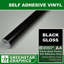 BLACK GLOSS Self Adhesive Vinyl (sticky back plastic) A4 Sheets 1/2/5/10m ROLLS