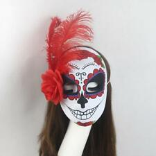 Day of The Dead Mask Feather And Rose Flowers Womens Dia de Los Muertos Mascara